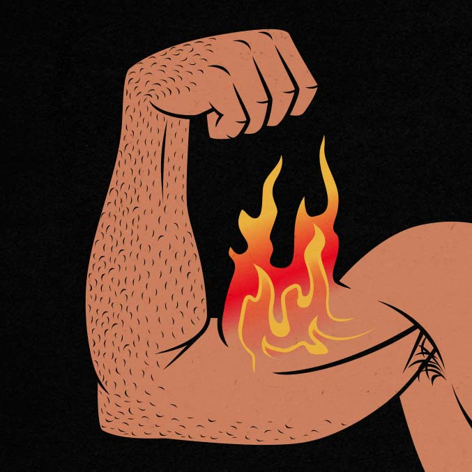 Flaming biceps flex illustration