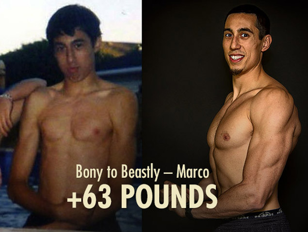 Before and after progress photo of Marco Walker-Ng's ectomorph transformation.
