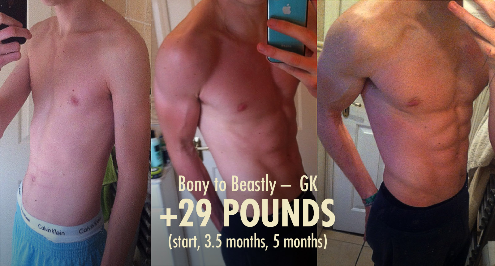Before and after progress photos showing a skinny ectomorph gaining muscle and bulking up.